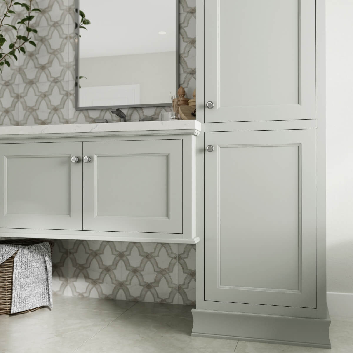 Curated Color: Silver Strand on Dura Supreme Cabinetry, Meridien door style, Inset, Wall Hung Vanity and Linen Cabinet