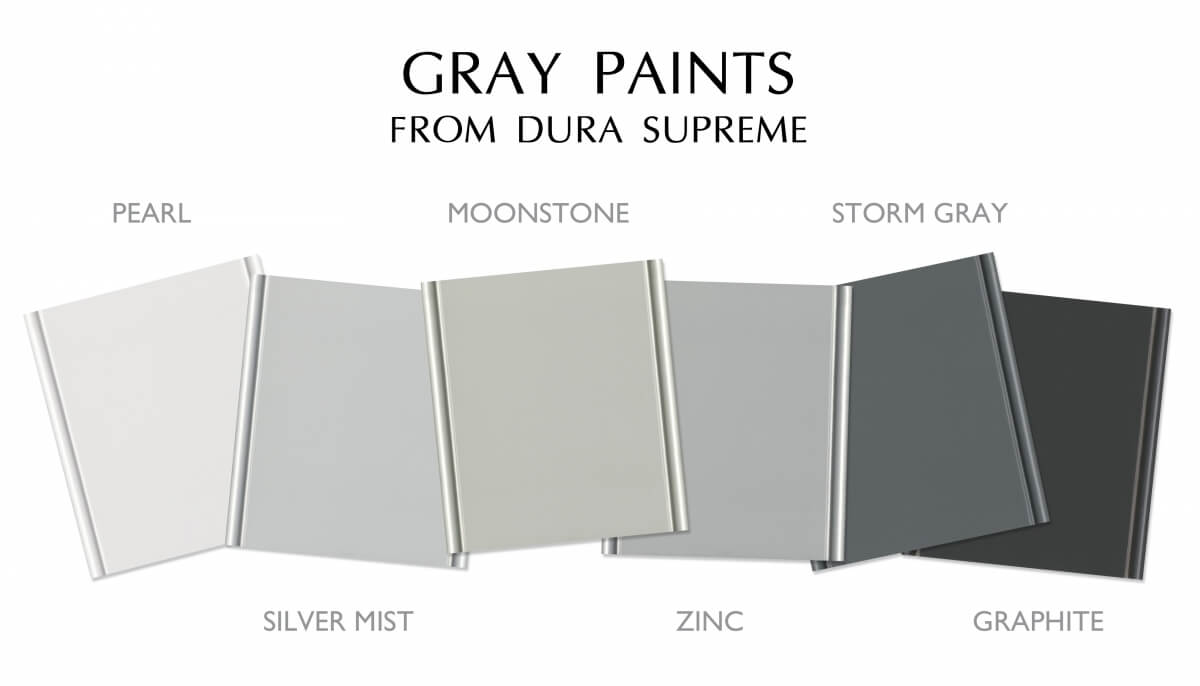 Gray Paint Colors from Dura Supreme Cabinetry, Pearl, Silver Mist, Moonstone, Zinc and Storm Gray.
