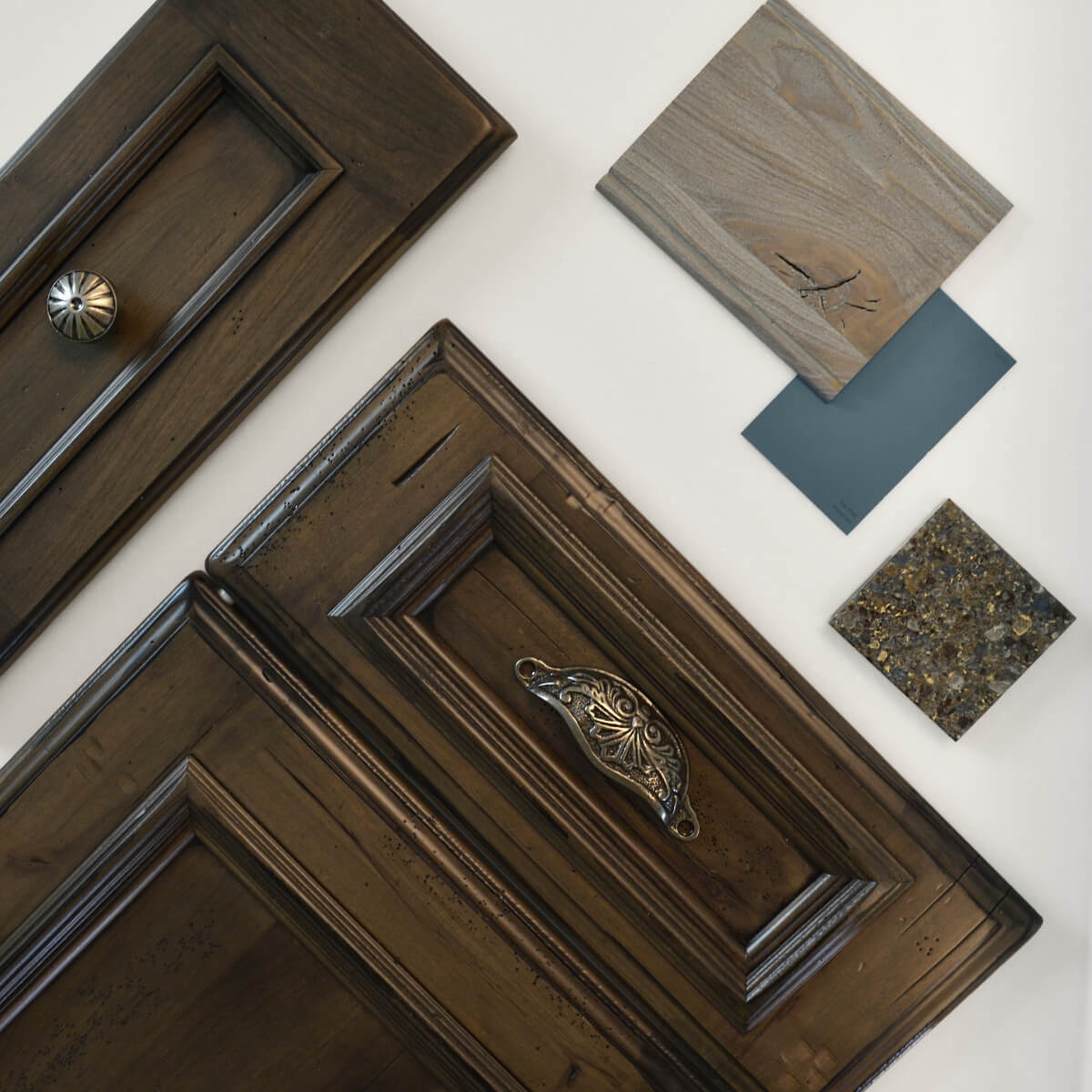 Dura Supreme Cabinetry is shown in the St. Augustine door style and drawer in the Montego door style both in the Heavy Heirloom