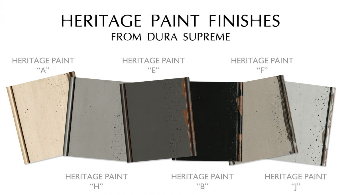 Distressed Heritage Paint Finish Collection of colors from Dura Supreme Cabinetry