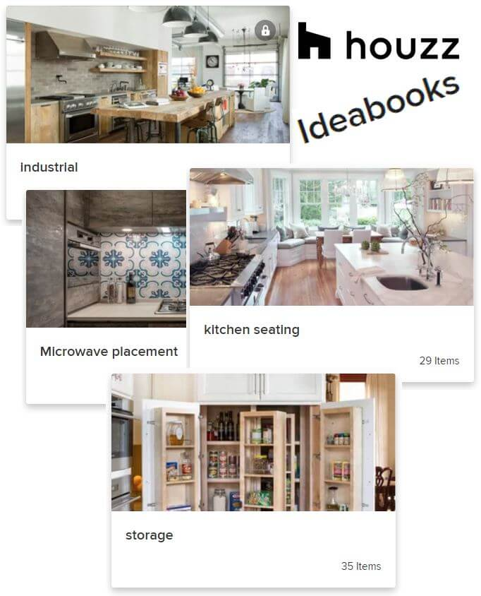 Examples of Houzz Ideabooks that can be shared with clients