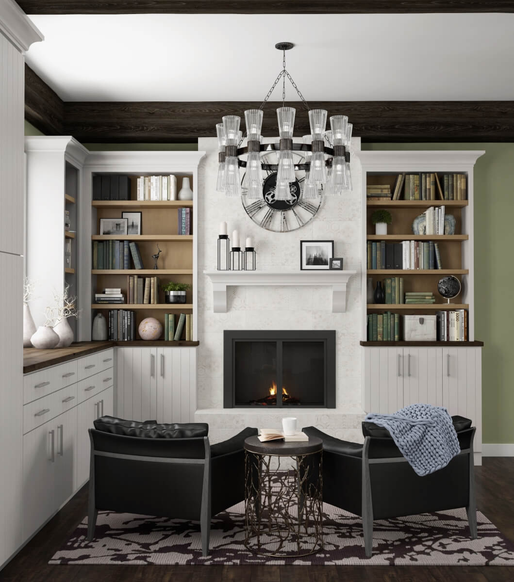 Dark wood ceiling beams around the perimeter of this hearth room define the space, all Dura Supreme Cabinetry