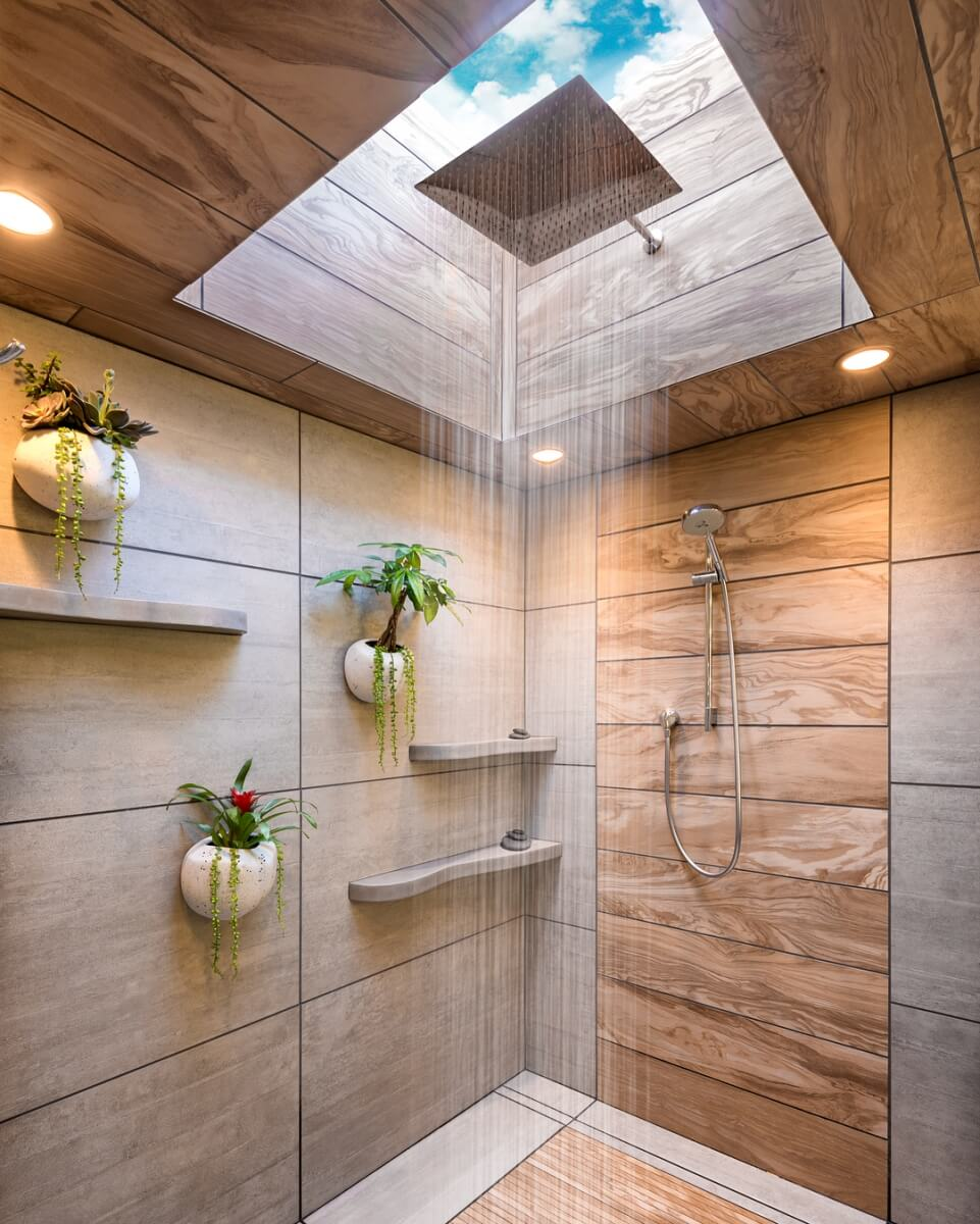 Close-up of skylight in shower, Design by Mantis Design Build in Minneapolis, MN
