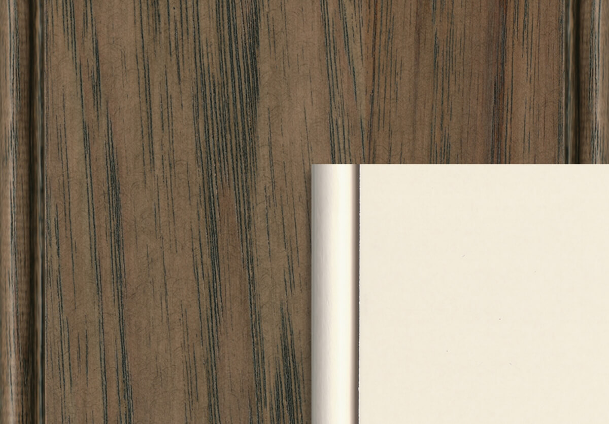 Dura Supreme's Morel stain on Rustic Hickory and Classic White paint on Maple/Paintable.