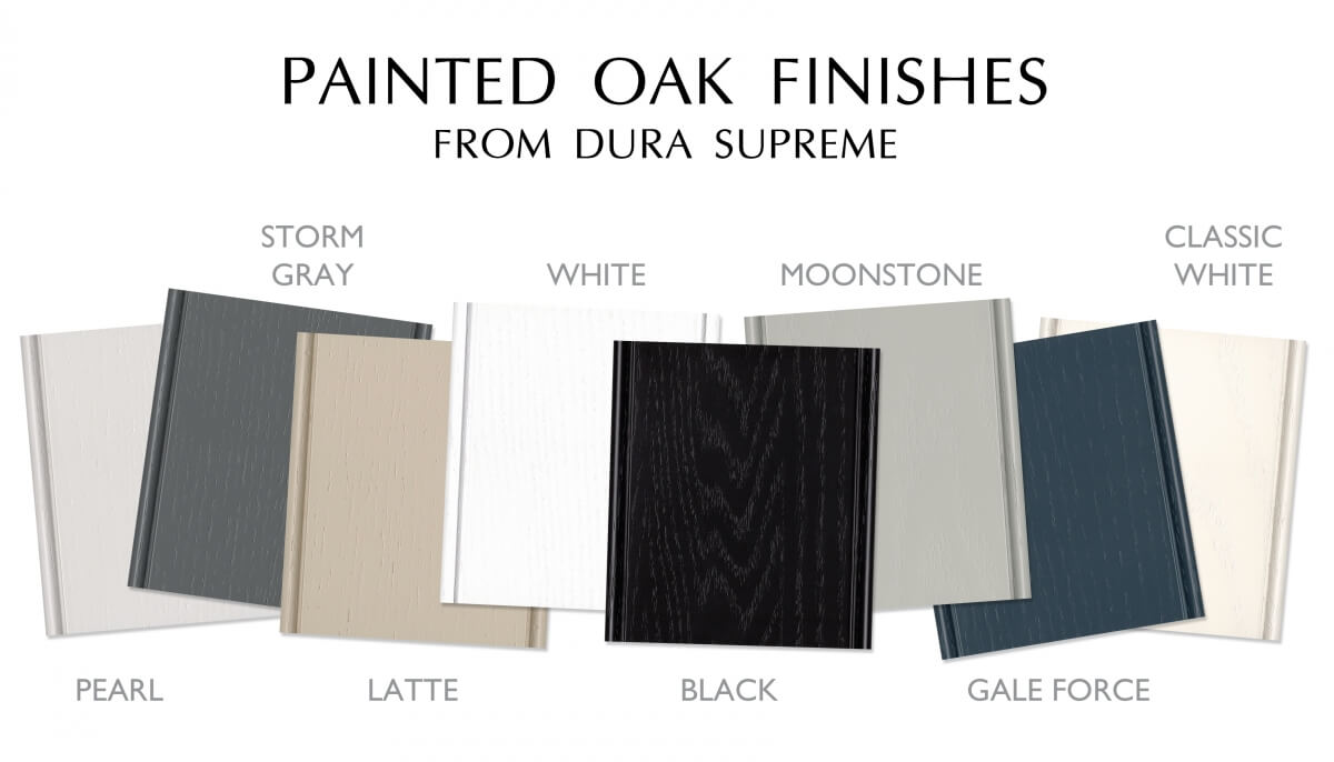 Popular Painted Oak Finishes from Dura Supreme Cabinetry. A collection of trendy painted colors for kitchen and bathroom vanity cabinets.