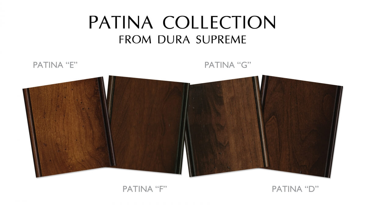 Dura Supreme's antiqued, distressed stained and glazed cabinets. Patina Finish Collection.