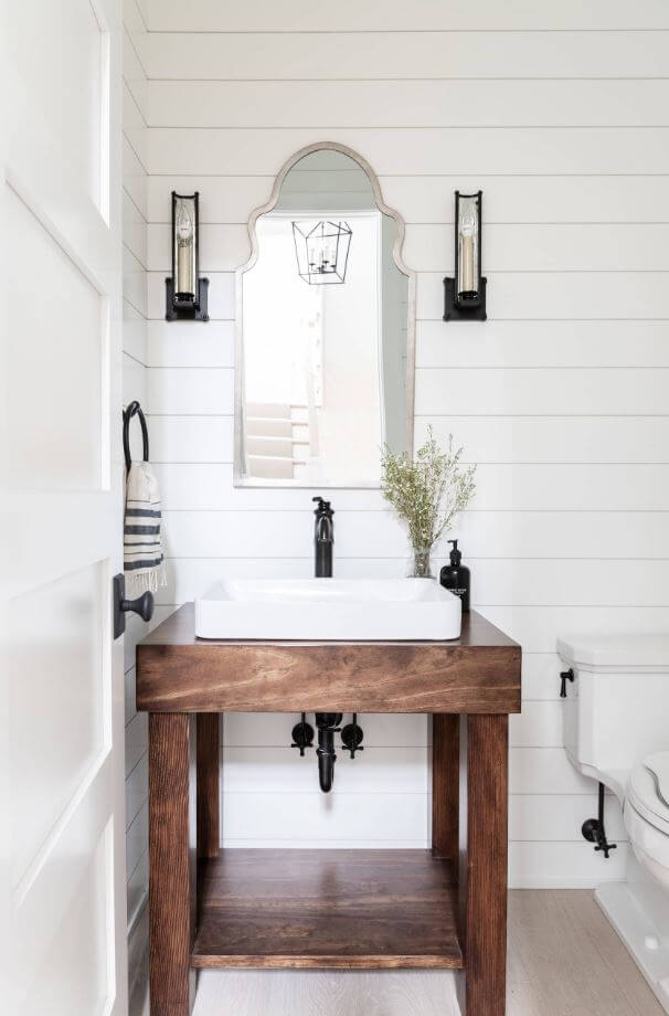 The Classic Half Bath, design by Laura Design Co., Chicago, IL, Photography by Emily Kennedy