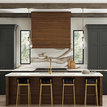 Modern wood hood with shiplap from Dura Supreme Cabinetry