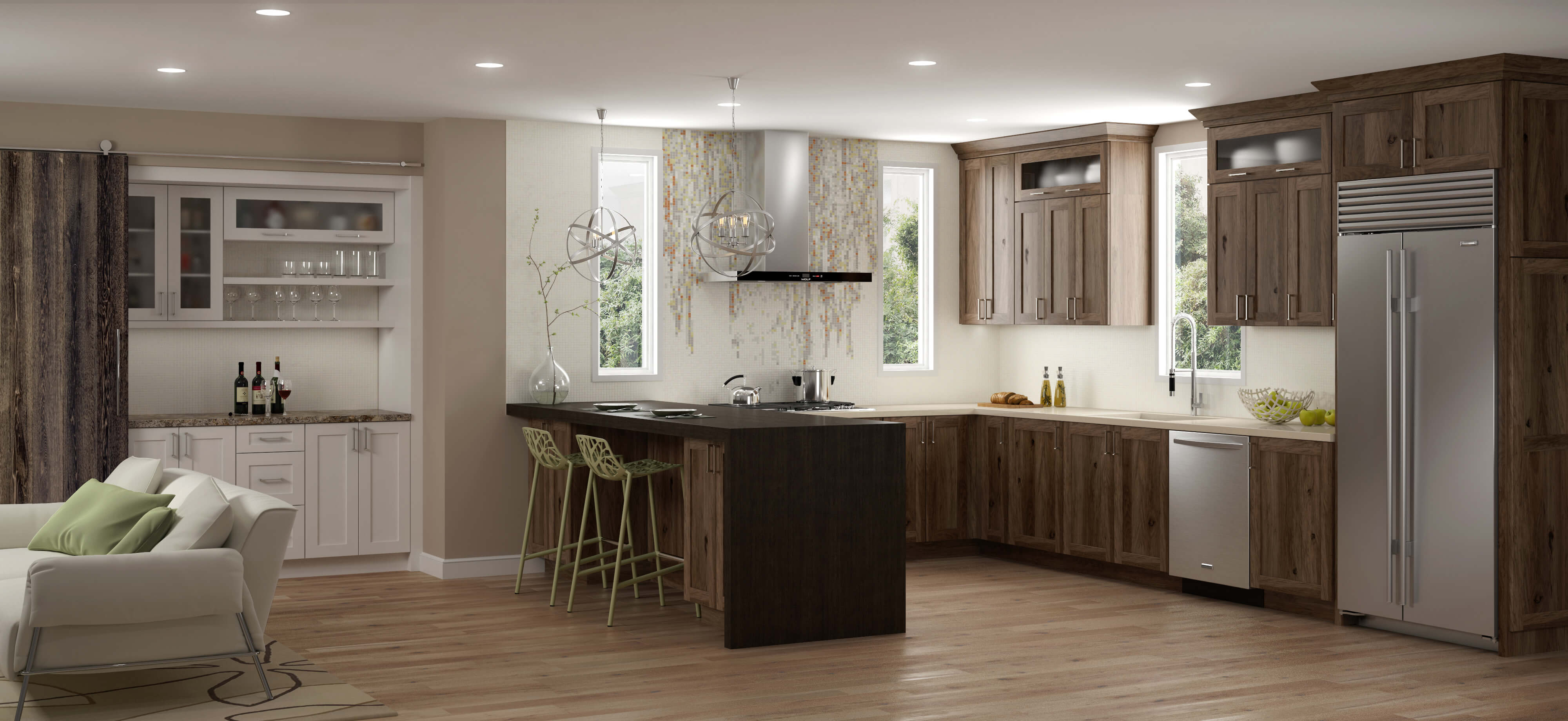Modern Twist on Hickory Cabinetry in a finished Kitchen Remodel- Gray stained cabinets with beautiful wood grain.