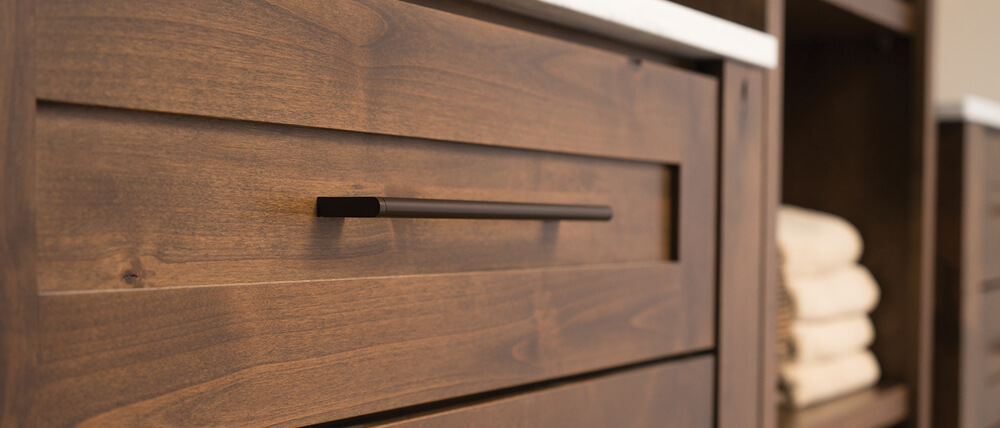 Close up of medium stain finish on cabinets from Dura Supreme.
