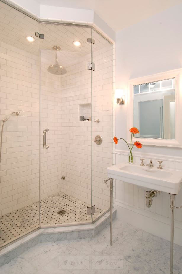 White Subway Tile throughout this bathroom, Design by Charlie Allen Renovations, Inc., Cambridge, MA, Photography by Shelly Harrison