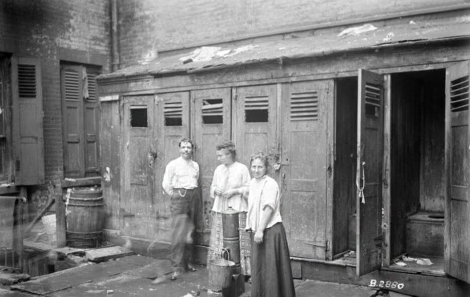 How Pandemics Have Shaped Design and What We Can Expect Post-COVID19. Outdoor water pump and toilets in NYC in the 1800's, Photo credit: New York Public Library