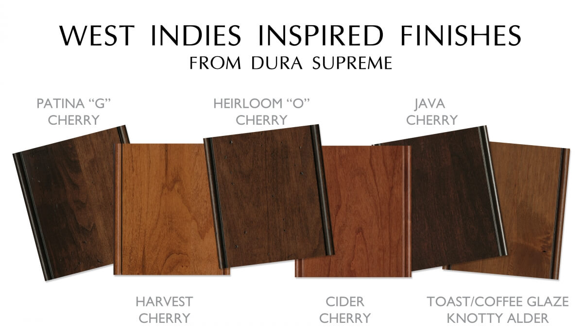 A collection of traditional West Indies style cabinet finish colors from Dura Supreme Cabinetry.