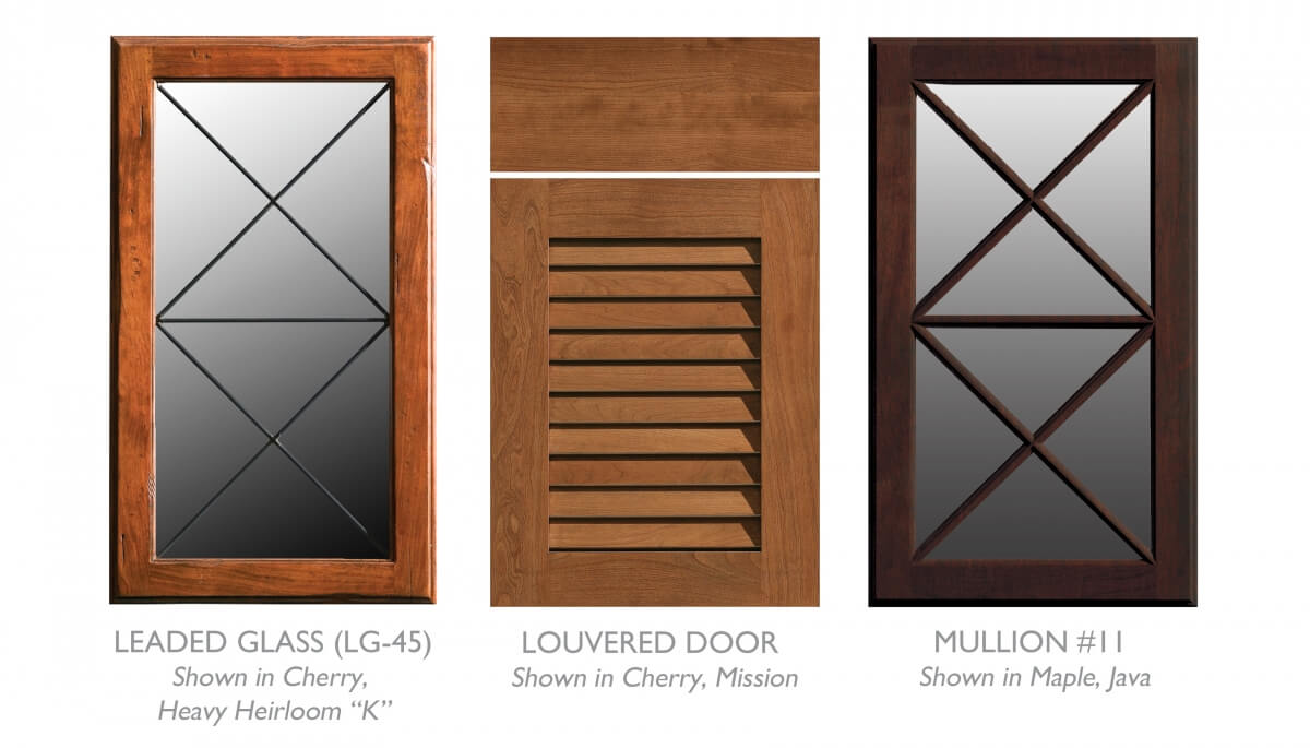 A collection of accent cabinet doors by Dura Supreme that work well for a traditional tropical kitchen design. This example shows a leaded glass door and a mullion door with an X-motif as well as a louvered door designed for cabinet ventilation and airflow in humid environments.