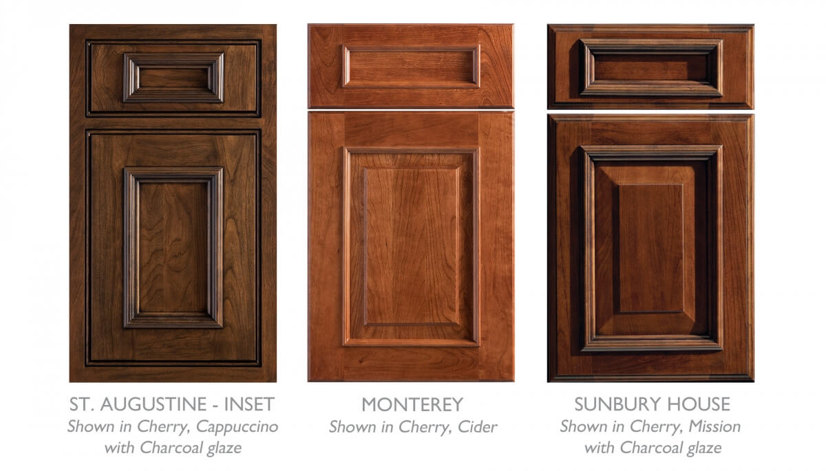 A collection of cabinet doors by Dura Supreme that work great in a tropical kitchen design with traditional West Indies styling.