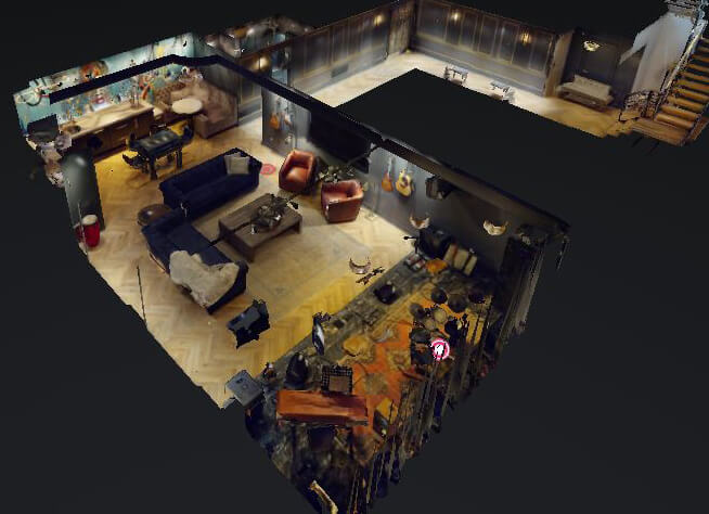 A 3D dollhouse view of the remodeled basement with music stage, home bar, game room, and entertainment room.