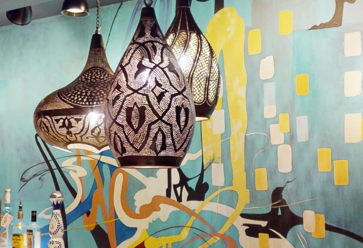 Moroccan Lighting adds a fun lighting effect and style to the basement reno.