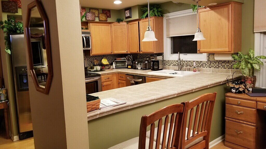 Before photo of the kitchen remodel project on the Wisconsin Lake home.