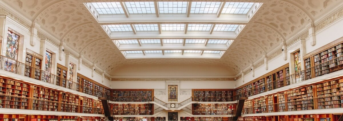 Library with mullioned skylights, Photography by Isaac Benhesed