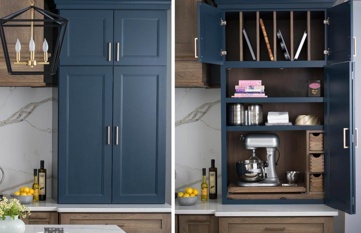 With a simple movement of a cabinet door an entire baking center can be concealed when company arrives, or revealed when it's time to bake.