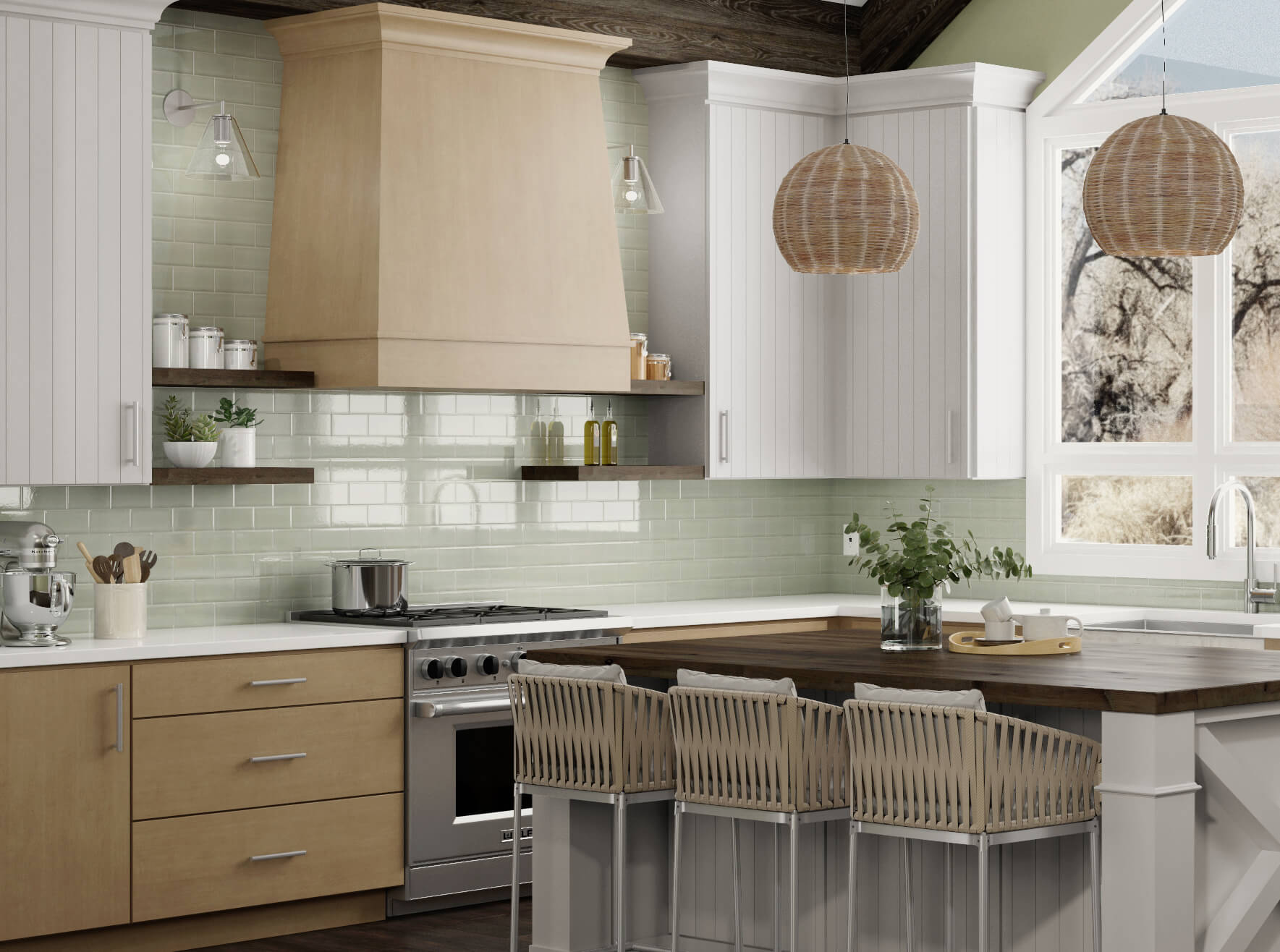 A drop-gorgeous modern farmhouse kitchen that was remodeled with a lightly stained maple wood hood and stainless steel kitchen appliances. This kitchen features white painted shiplap inspired cabinet doors and solid slab cabinet doors in light stained maple.