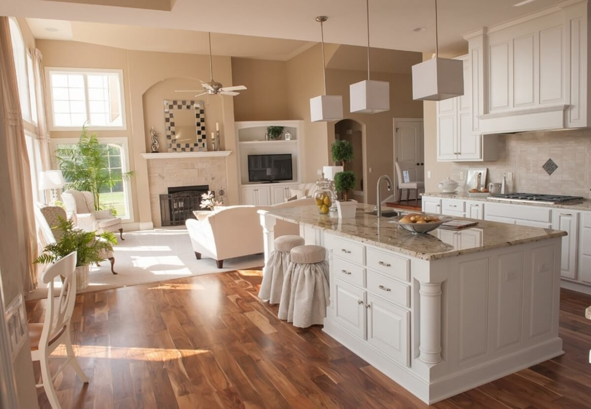 Dura Supreme cabinetry, Oxford Classic door style, Standard Overlay in Maple, White with Pewter Accent from Drexel in Wisconsin