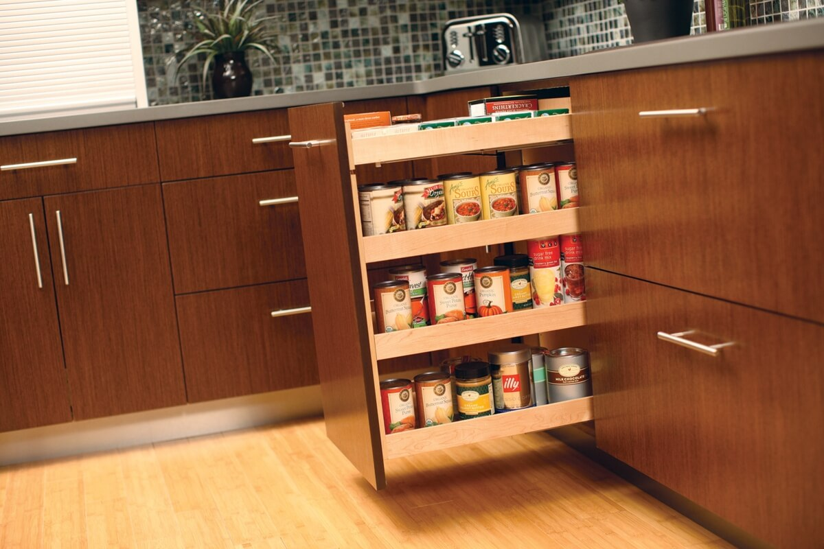 A Dura Supreme Base Pull-Out Pantry neatly stores row after row of pantry goods within a narrow space making it easy to see the entire contents of your pantry at a glance. (Available in wood or wire options)