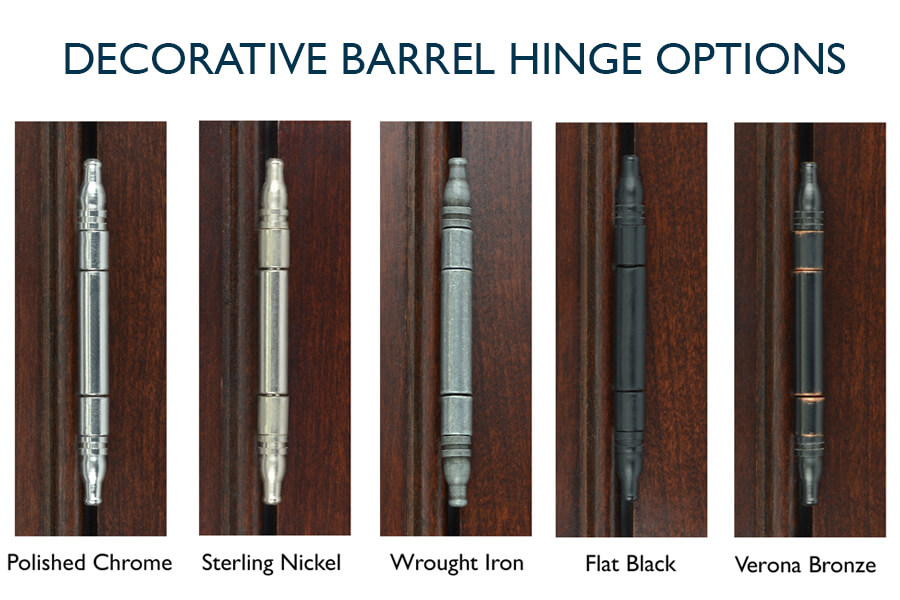 Decorative Barrel Hinge Finish Options from Dura Supreme Cabinetry for Inset Cabinets