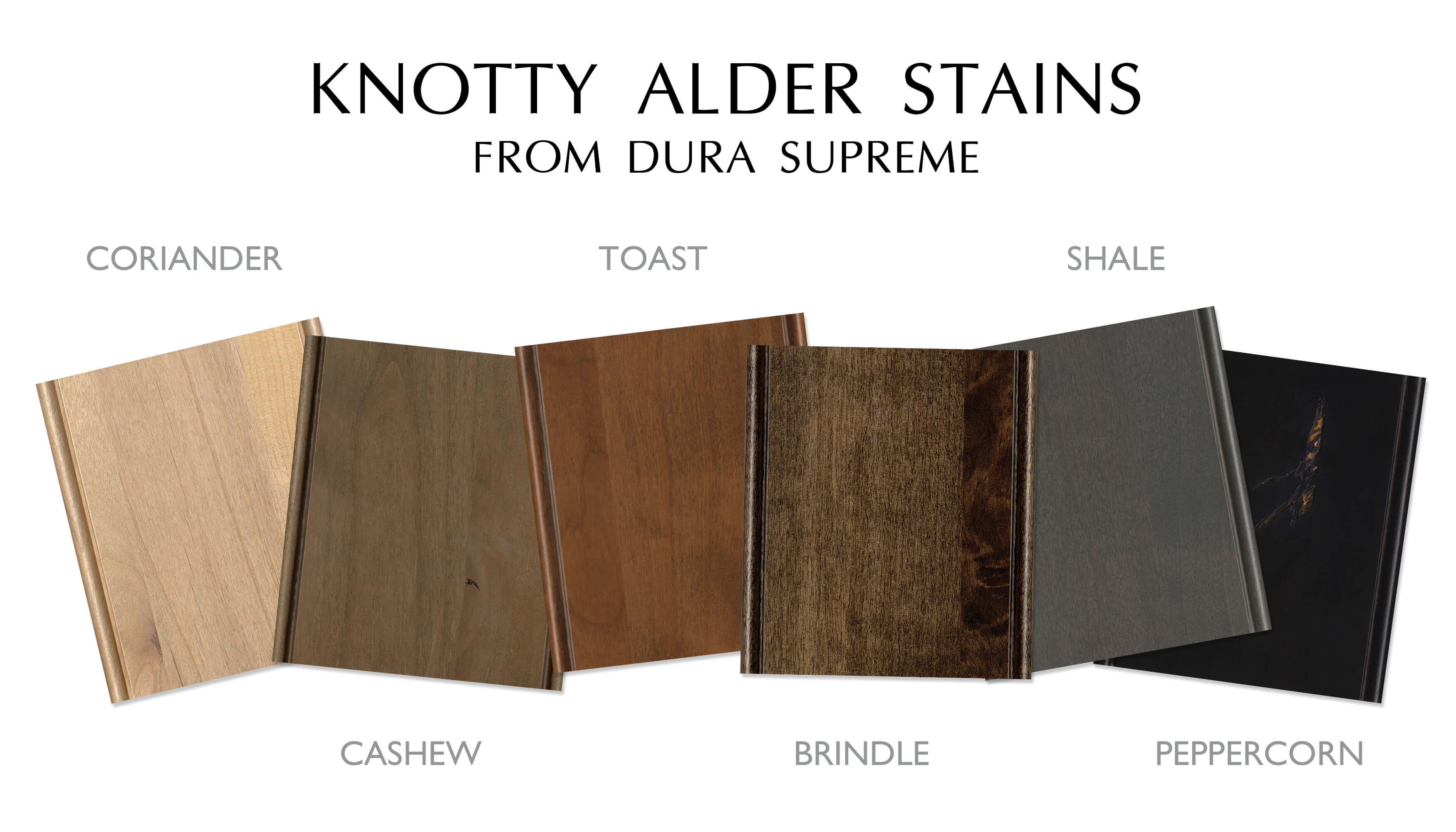 Knotty Alder Staines for kitchen and bath cabinets from Dura Supreme Cabinetry.