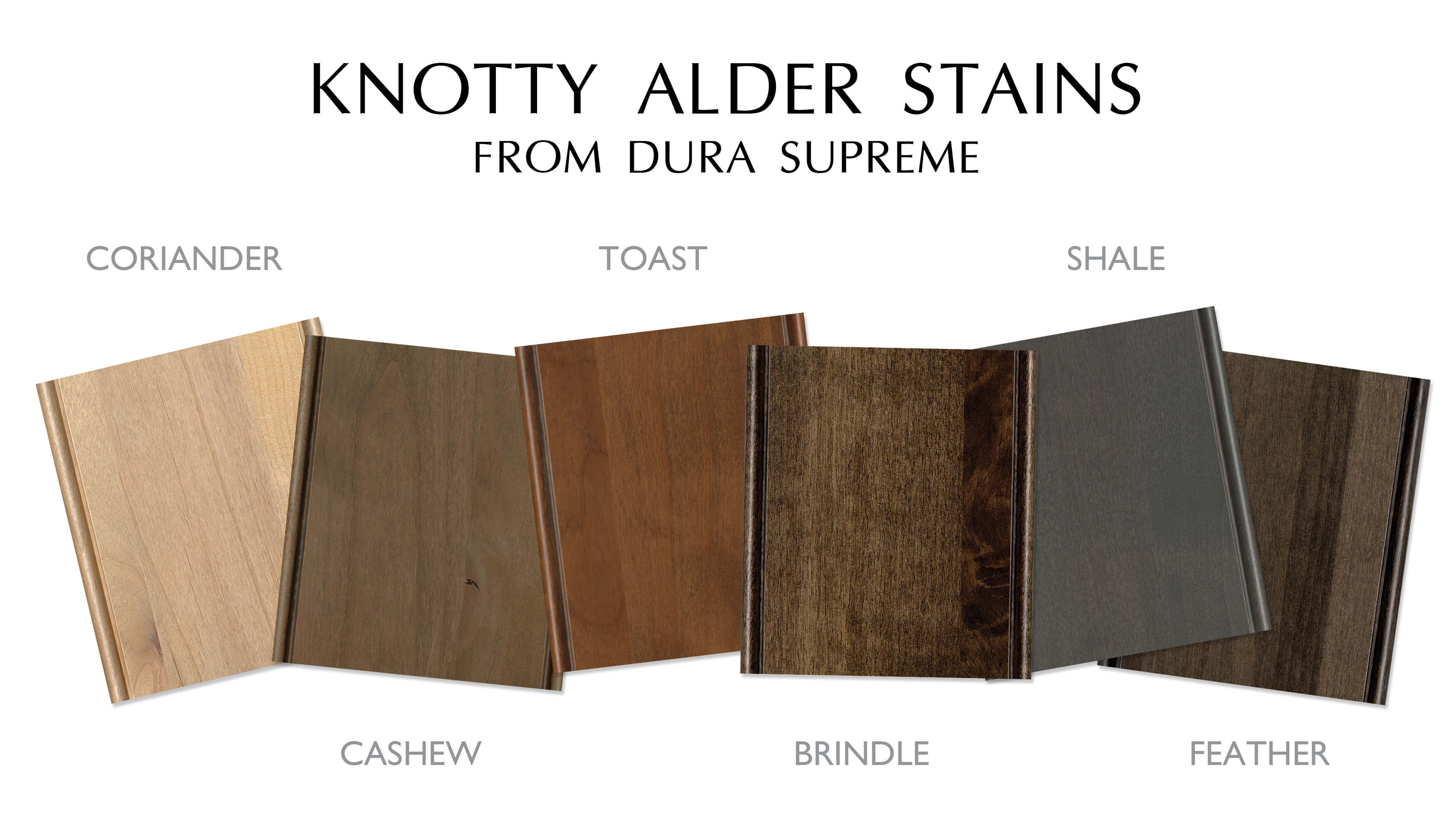 Knotty Alder wood stains from Dura Supreme Cabinetry