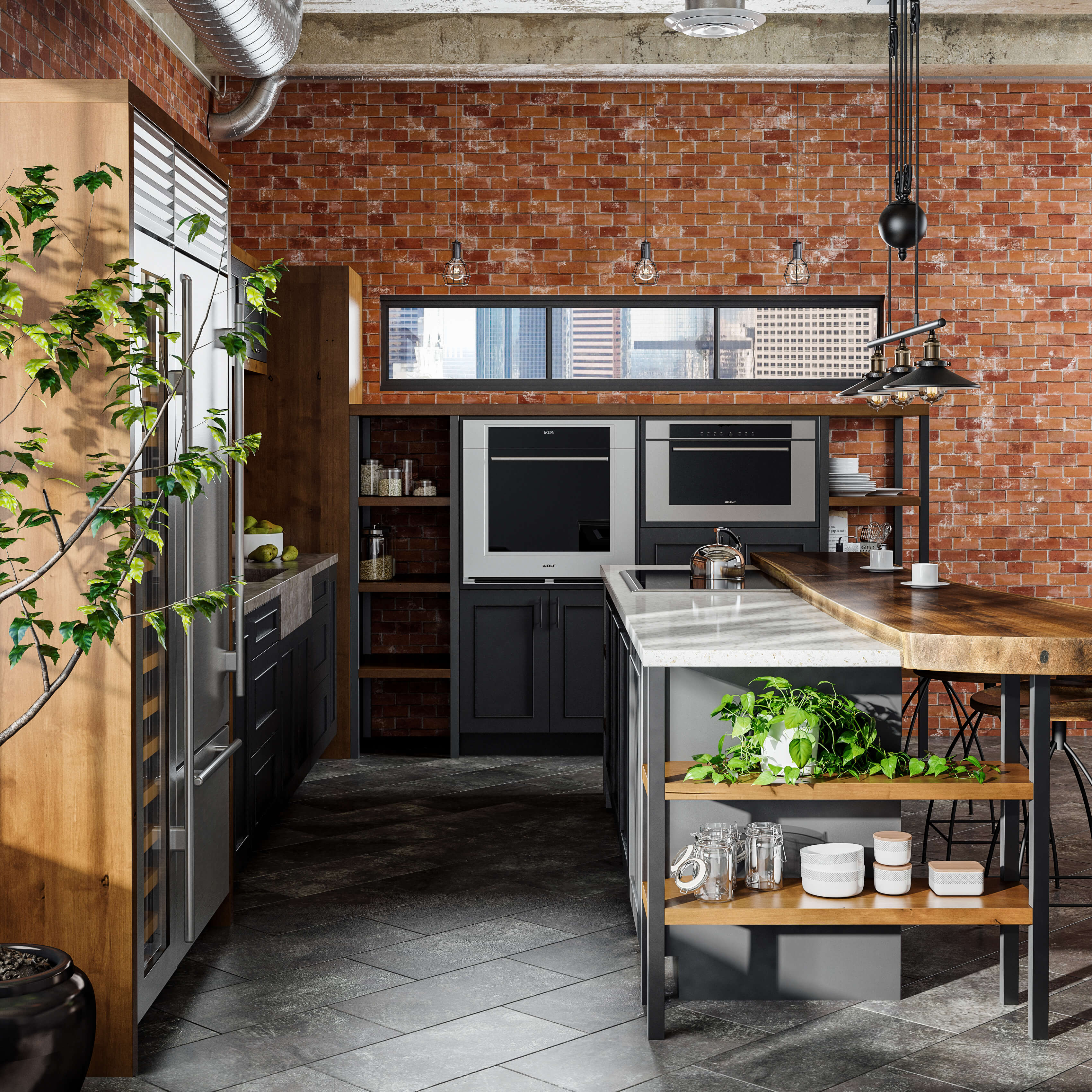 Dura Supreme Cabinetry in an Industrial styled kitchen