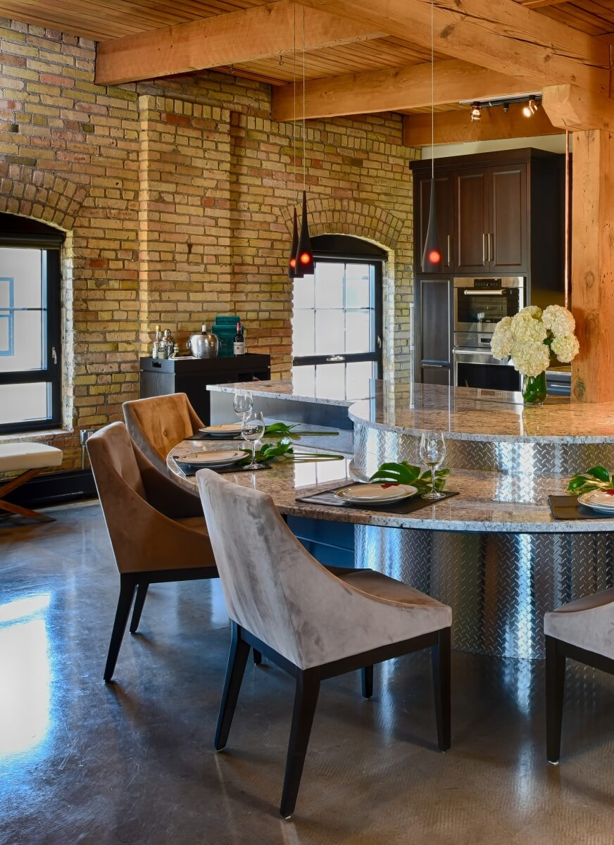 Dura Supreme Cabinetry in an Industrial styled kitchen, designed by Leslie Meyers of Studio M Interiors
