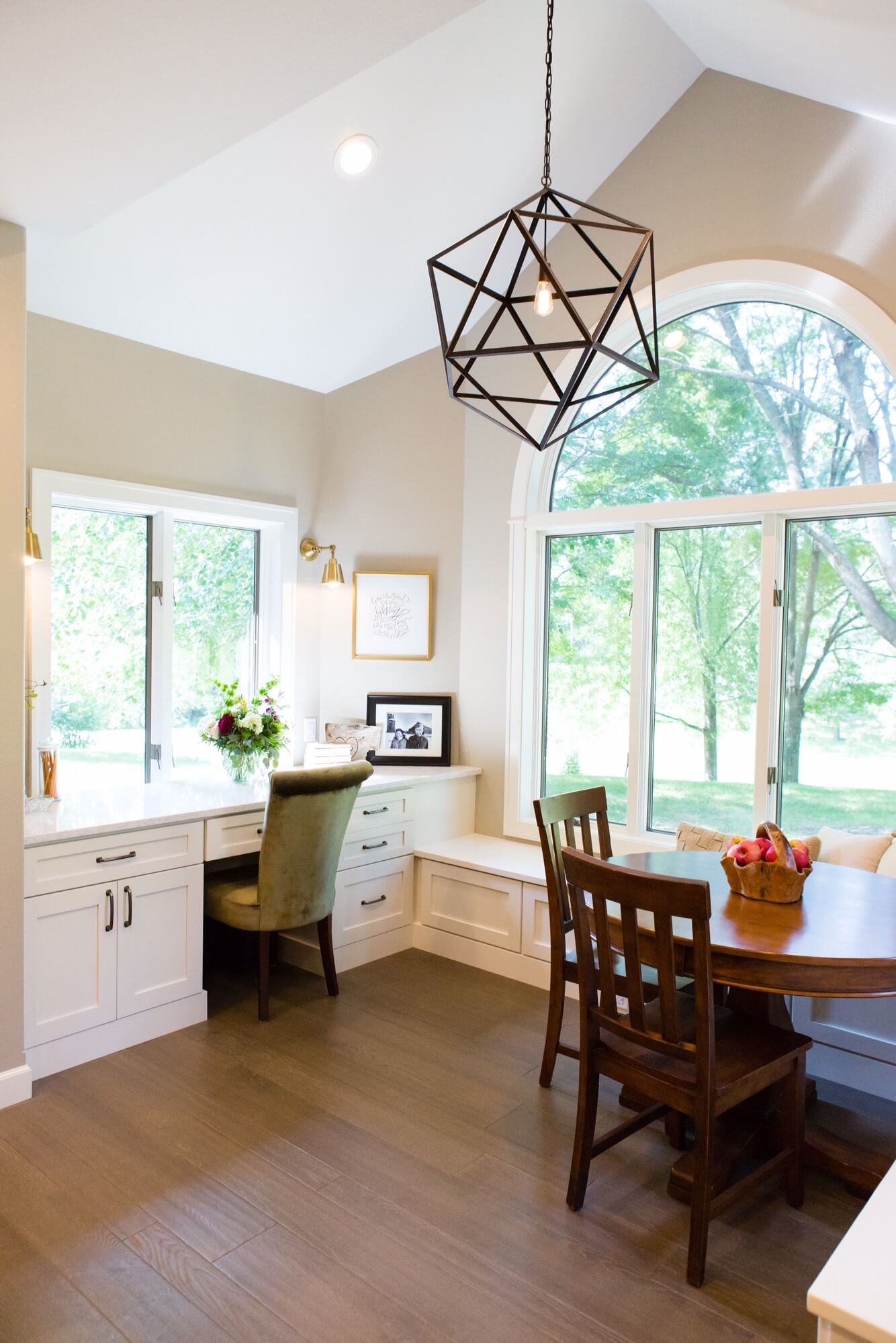Kitchen with desk, designed by Megan Courtney of Cabinet Style LLC.