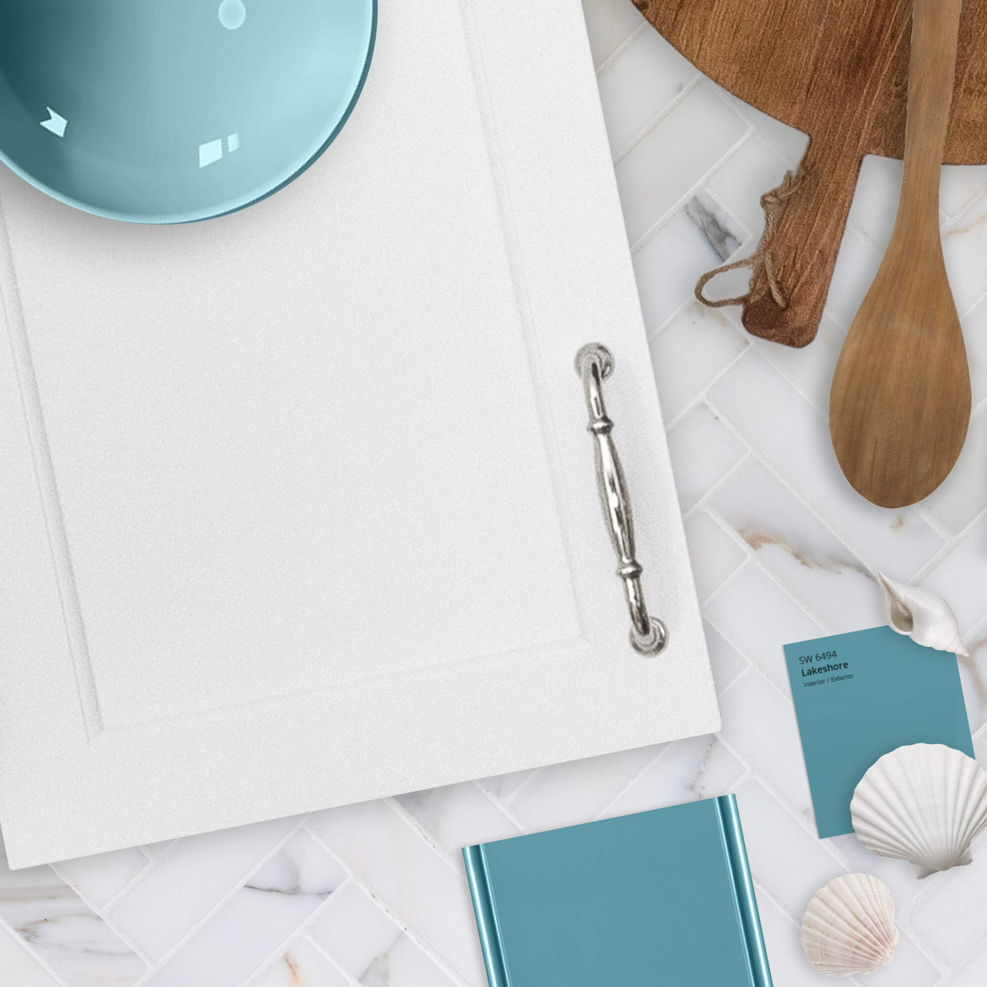 """Dura Supreme Cabinetry is shown in the Arcadia Panel door style (with a custom edge profile) in """"White"""" paint for the perimeter and finish sample of a Personal Paint Match finish to Sherwin-Williams """"Lakeshore"""" SW 6494."""